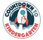 rocket ship taking in a logo for countdown to kindergarten