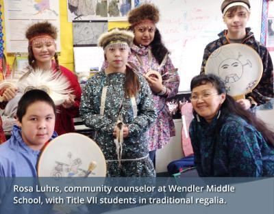 Wendler Middle School kids in traditional Alaska Native clothing.