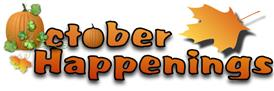 October happenings with pumpkins and fall leaves