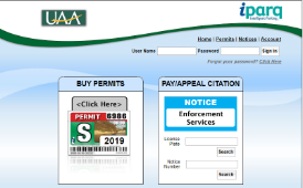 UAA parking permit and payment picture