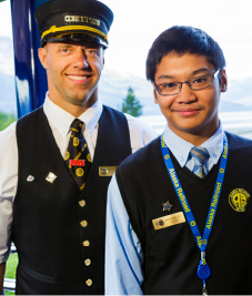Pic of AKRR Conductor and student tour guide