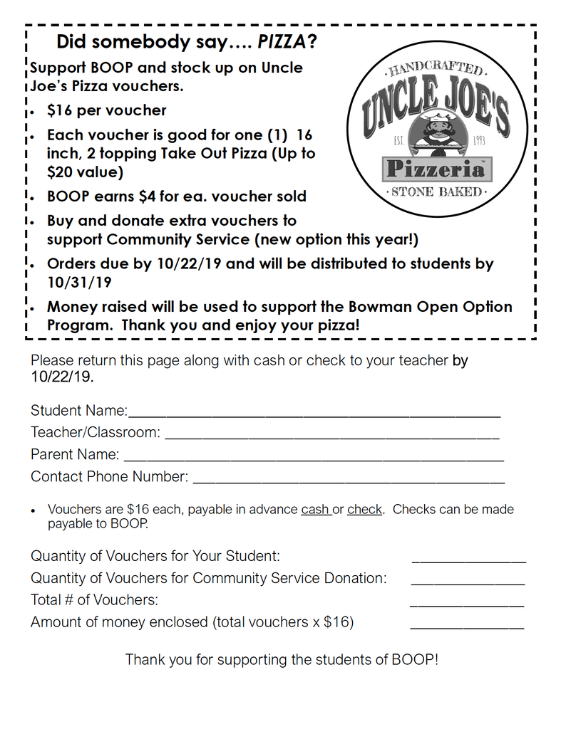 Uncle Joe's Fundraiser! Get Your Vouchers NOW!