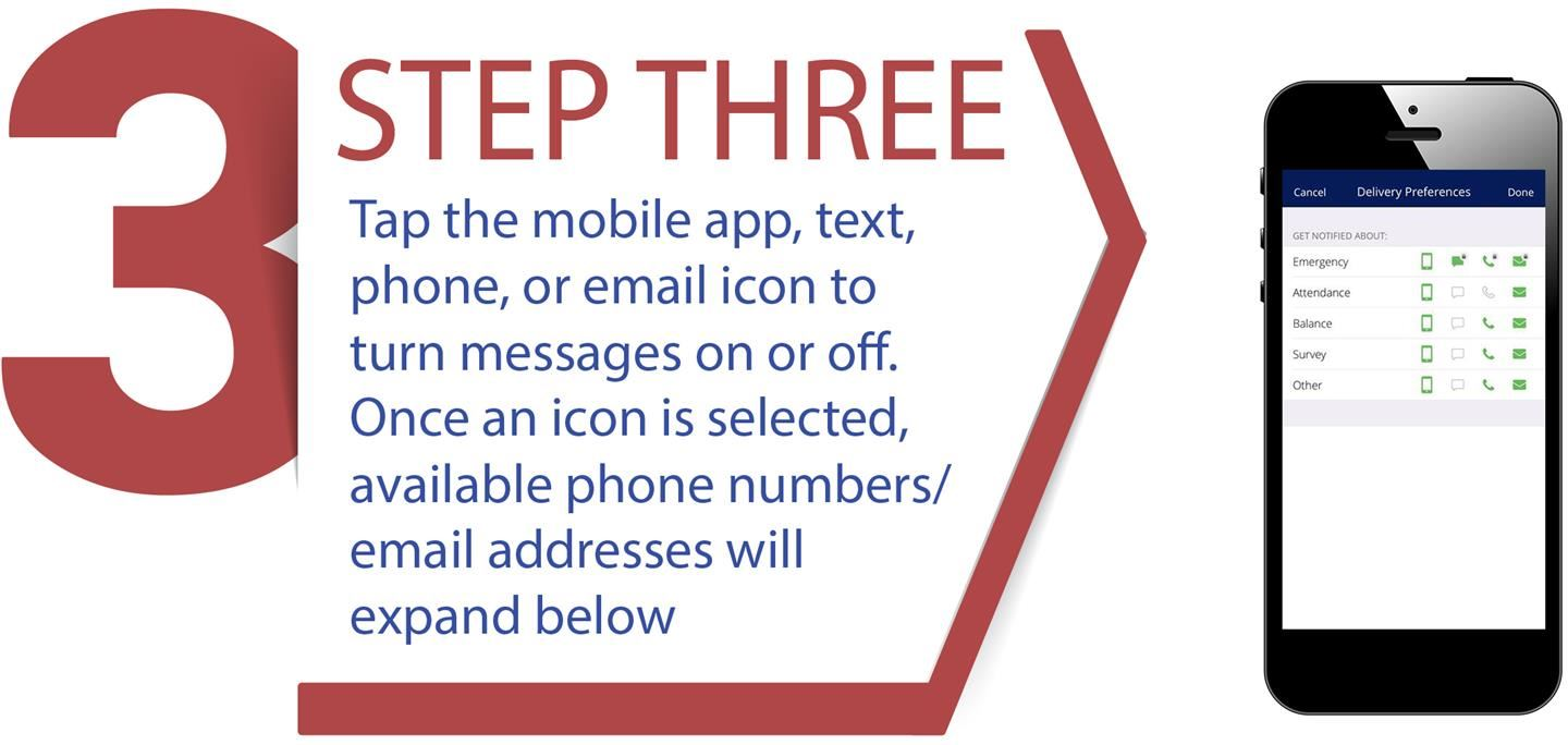 STEP THREE: Tap the mobile app, text, phone, or email icon to turn messages on or off. Once an icon is selected, available phone numbers/email addresses will expand below