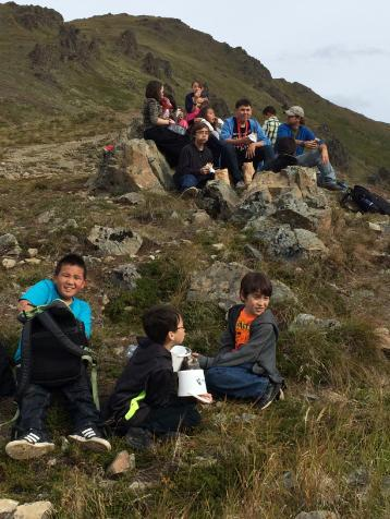 Students outdoor study on hilltop