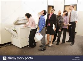 People in line at a copier