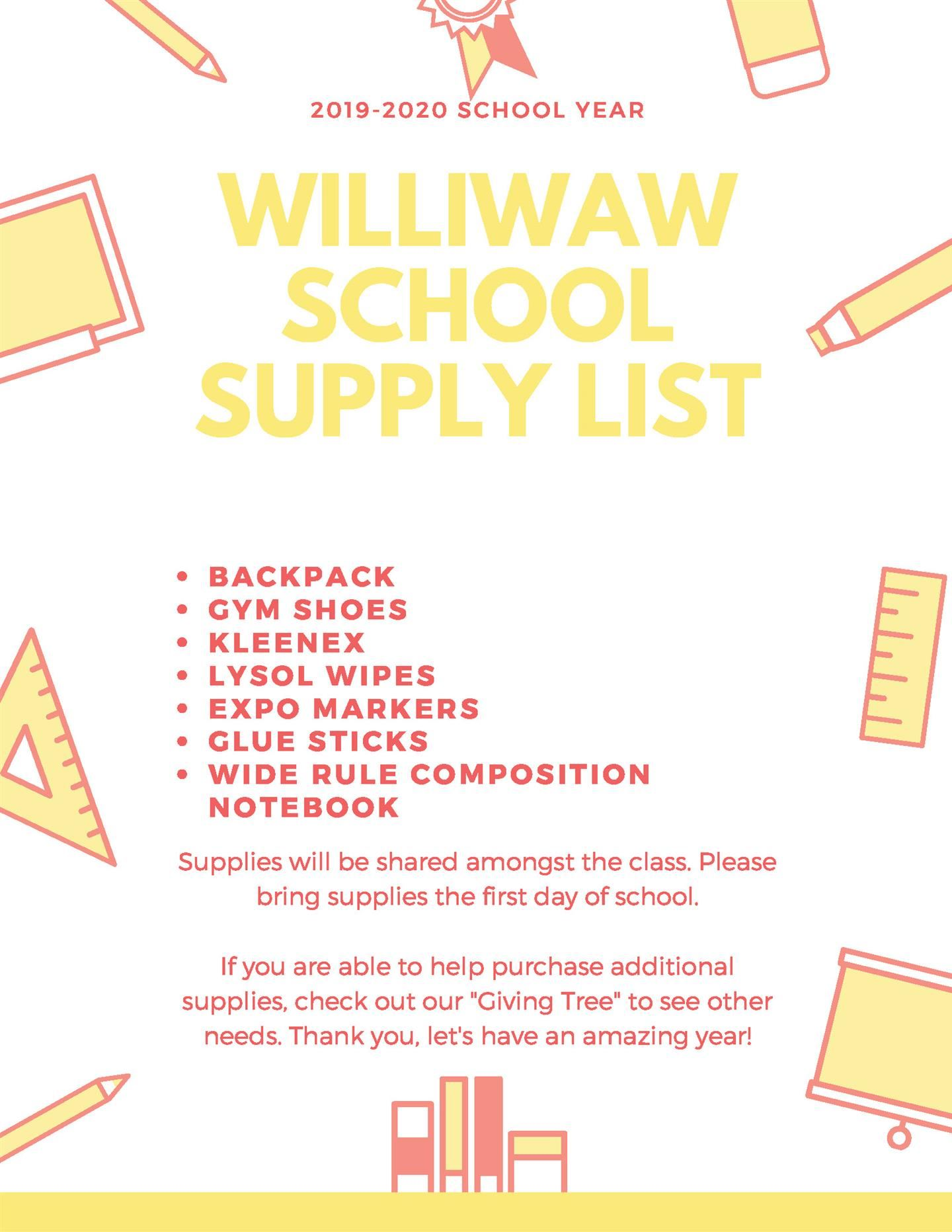 School Supply List Download as a PDF