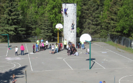 What. A rock wall on the playground?