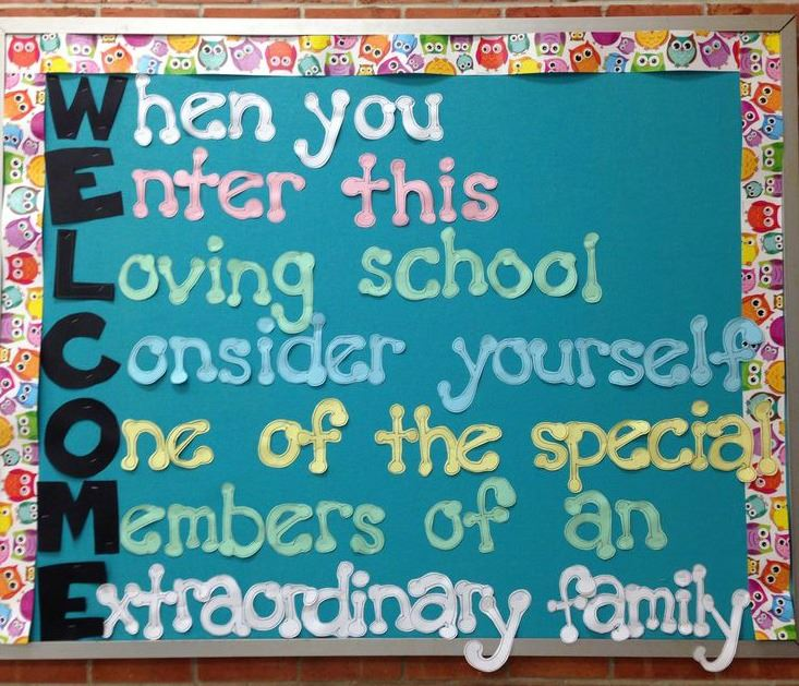 Welcome signage for parents