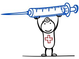 stick figure guy holding a syringe over its head