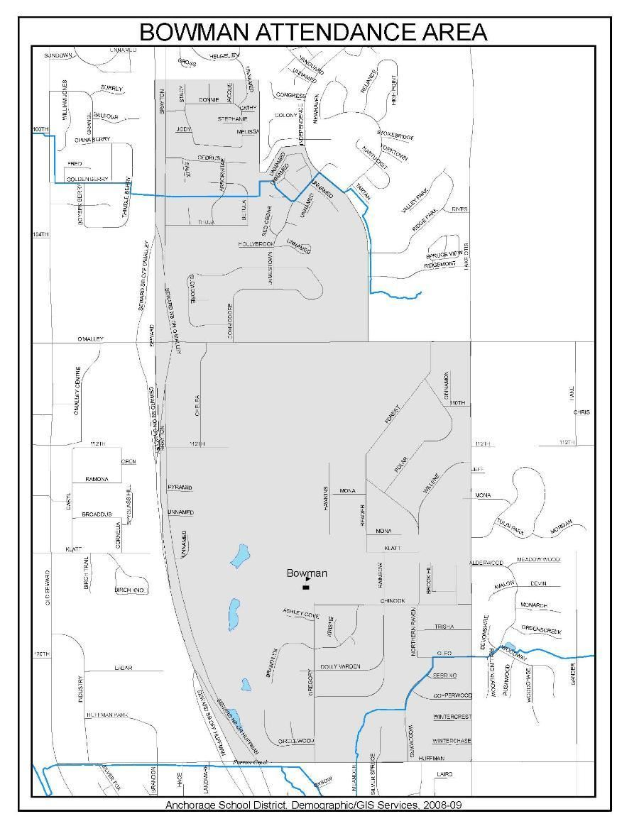 Bowman Boundary Map as created by ASD Demographics and GIS. Please contact ASD with an address to find out if you are within the Bowman Boundary.