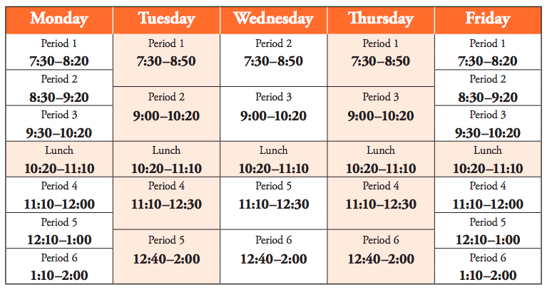 a color chart of the West High bell schedule; scroll down for accessible version