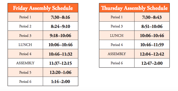 chart of West High school's assembly bell schedule; scroll down for accessible version