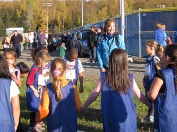 Students participating in girls on the run.