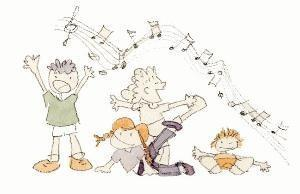 Illustration of children singing