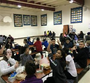 Students eating in the lunch room