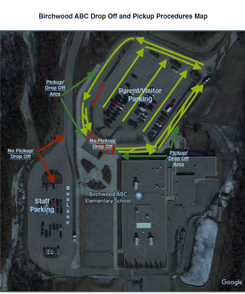 Birchwood Drop Off and Pick Up Procedures Map