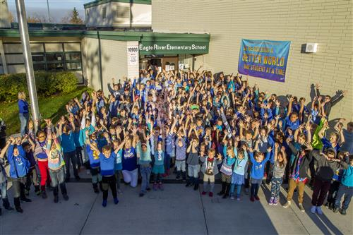 Eagle River Elementary students pose for a photograph
