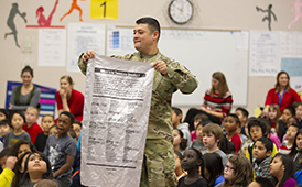 A member of The National Guard holds a banner with all the chemicals in cigarettes