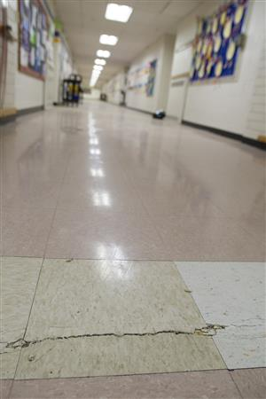 A crack in the floor at Eagle River Elementary