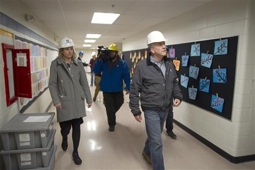 Se. Dan Sullivan tours Eagle River Elementary with Superintendent  Dr. Deena Bishop