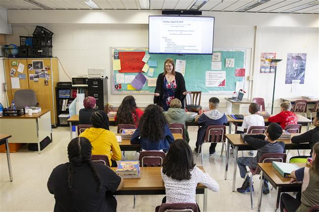 Central Middle School of Science teachewr Jessica Wilhelm talks to her class on the first day of school Aug. 20, 2019.