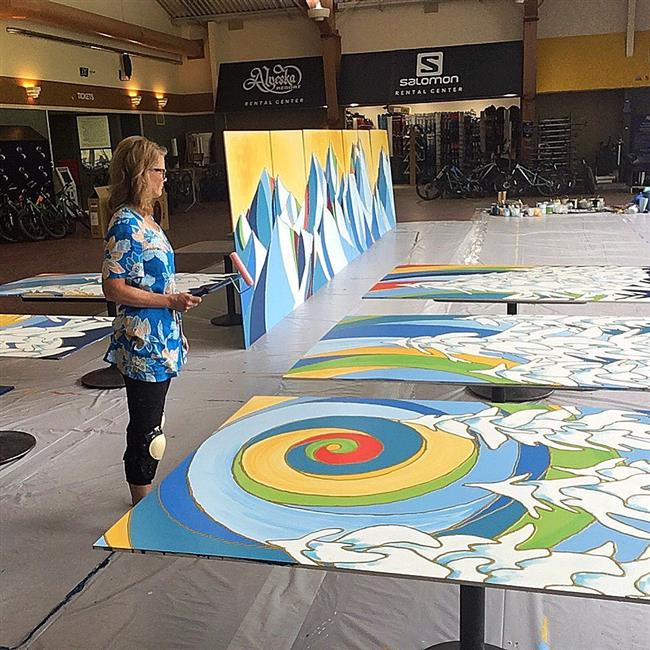 Alaska Artist Dawn Gerety works on the art project for Gladys Wood Elementary