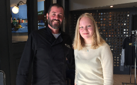Juliet is pictured with Head Chef Shane Moore at South Restaurant