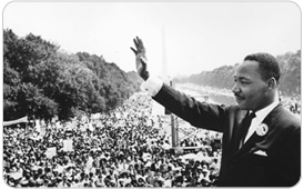 MLK waving to crowds in Washington DC