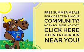 Milo the Moose offers free meals in our communities for children and teens.