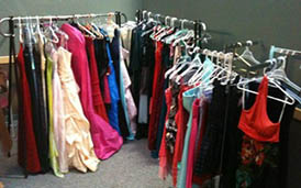 prom dresses on racks