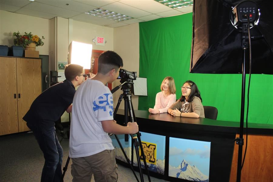 Students filming a newscast.