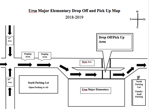 Map of school showing correct vehicle travel lanes for pick up and drop off.
