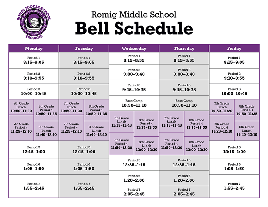 color chart of Romig bell schedule; accessible table below