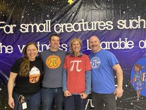 Romig HG teachers pose with Pi t-shirts
