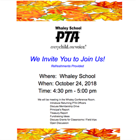 Whaley School PTA Meeting Invitation