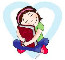 Girl sitting in a blue heart hugging a red book