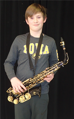 Student with saxophone