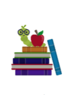 inch worm with an apple on a stack of books