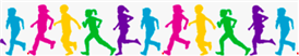 Colorful Silhouette of kids running
