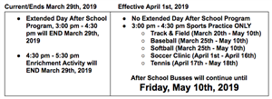 Sports practice moved to 3:00-4:30, students to be picked up at 4:30 PM.