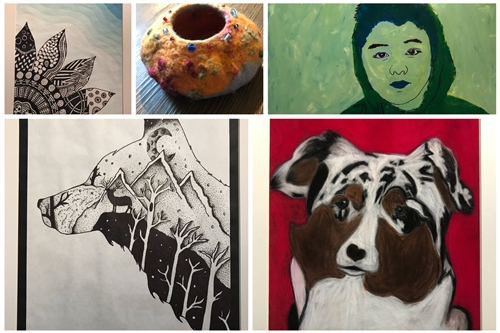 collage of artwork created by Romig students
