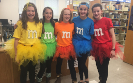 Romig students dressed as M&M's in 2017