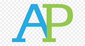 Picture with AP logo. The letters A and P are in blue and green