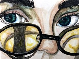 Student artwork that shows only eyes and glasses.