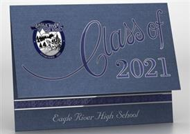 A card for the class of 2021 with ERHS emblem in school colors, silver and navy.