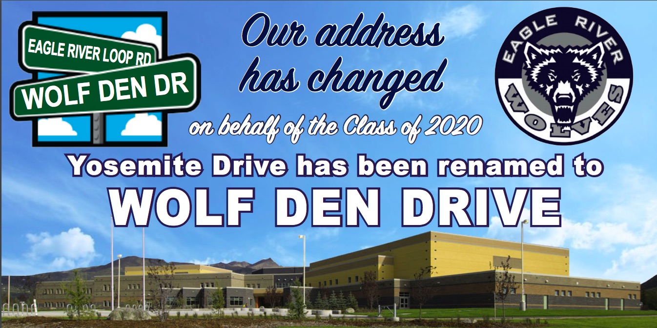 Picture of ERHS with a street sign showing Wolf Den Drive as the name of the road leading to ERHS.