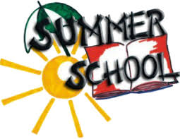 Clip Art of a sunny day and school for summer school.