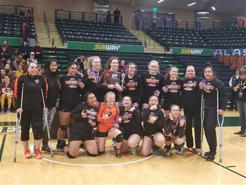 West volleyball team photo at Alaska Airlines Center