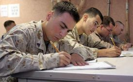 picture of people taking a military exam