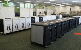 chromecarts lined up in library